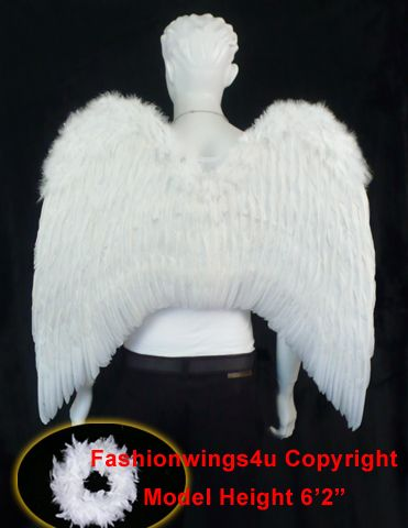 White XL costume feather angel wings for men or women