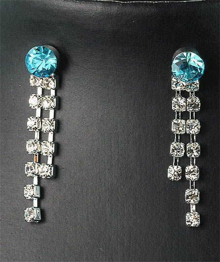 Bridesmaids Aqua Crystal Diamante Necklace Earrings Set Prom 62L