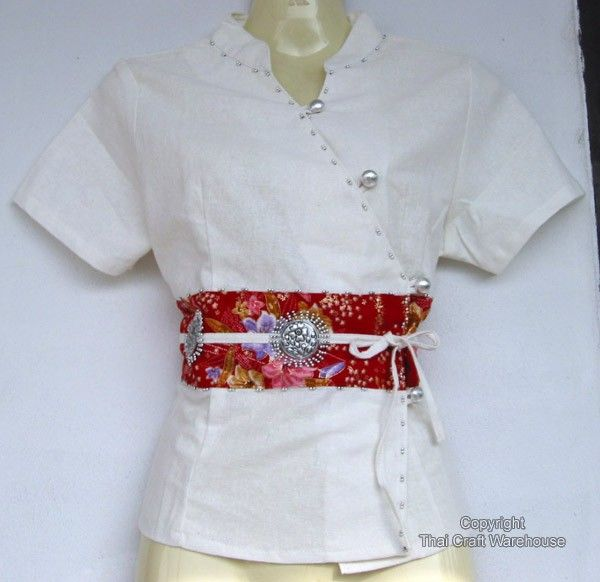 White Chinese Silk Emblem Ladies Kimono Shirt szM Asia