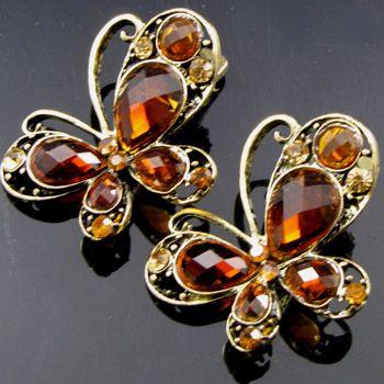 ADDL Item  2 antiqued rhinestone crystal butterfly hair