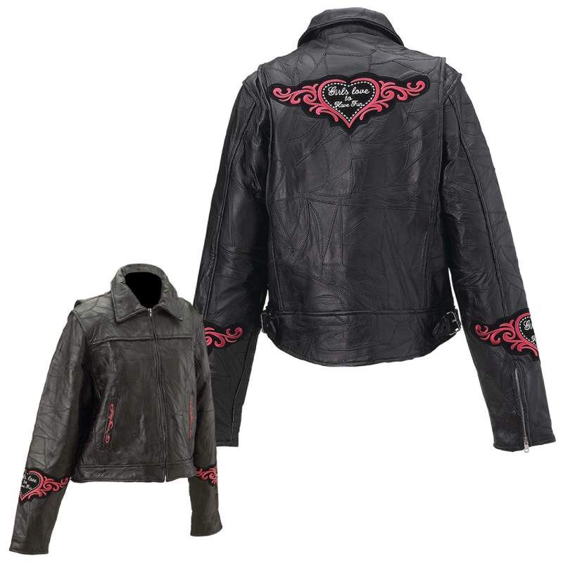 WOMENS Black Leather Motorcycle Jacket Heart S L XL 2X GIFT