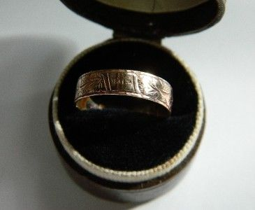 Antique VICTORIAN ETCHED ROSE GOLD F WEDDING BAND RING