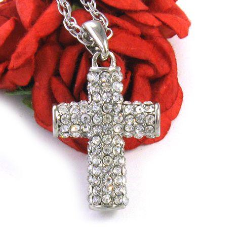 Silver Tone Clear Rhinestone Cross Pendant Necklace 300