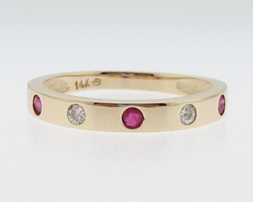 Natural Ruby Diamonds Solid 14k Yellow Gold Ring Stackable Band