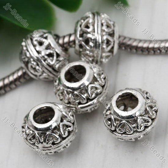 20x Tibetan Silver Carved Heart European Bead Fit Charm