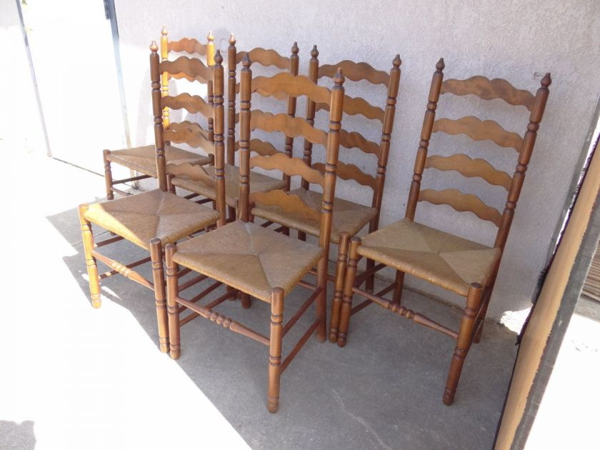 Tell City Ladder Back Rush Seat Dining Room Chairs Set